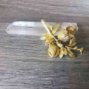 Vintage Gold Rhinestone Brooch